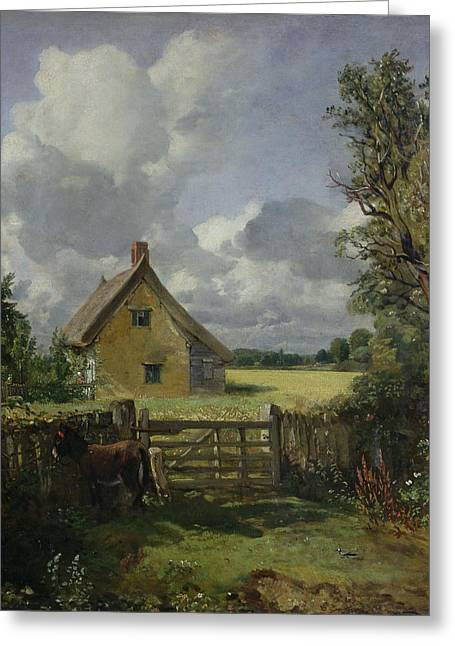 Field. Cloud Greeting Cards - Cottage in a Cornfield Greeting Card by John Constable