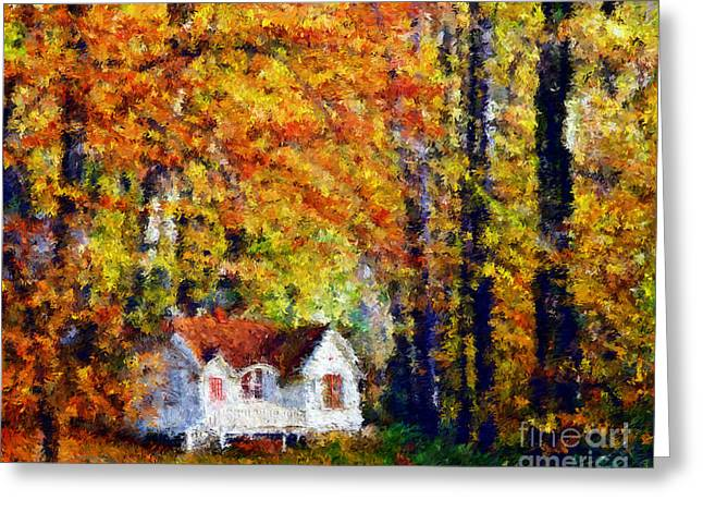 Reception Greeting Cards - Cottage in the Fall    Paint 2 Greeting Card by Cheryl Young