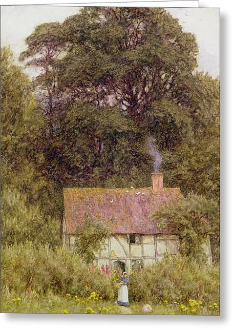 Chimney With Smoke Greeting Cards - Cottage near Brook  Greeting Card by Helen Allingham