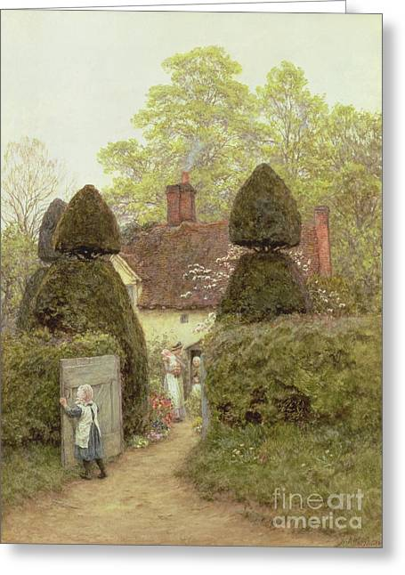 Open Door Greeting Cards - Cottage Near Pinner Greeting Card by Helen Allingham