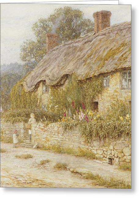 Hollyhocks Greeting Cards - Cottage near Wells Somerset Greeting Card by Helen Allingham