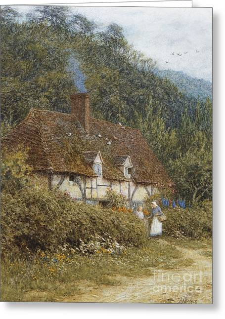 Half-timbered Greeting Cards - Cottage near Witley Surrey Greeting Card by Helen Allingham