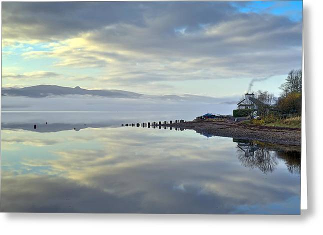 Argyll And Bute Greeting Cards - Cottage on the shore Greeting Card by Gary Eason