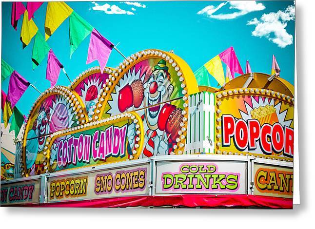 Food Vendors Greeting Cards - Cotton Candy Carnival Food Vendor BOLD COLOR Greeting Card by Eye Shutter To Think