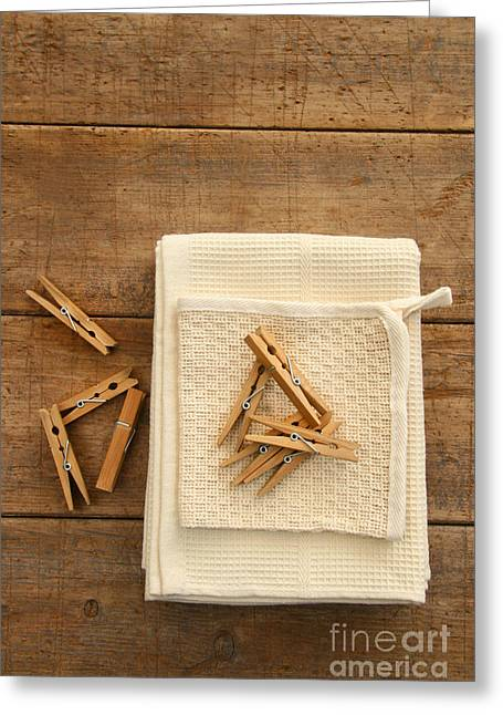 Clips Greeting Cards - Cotton dish towel with clothes pins Greeting Card by Sandra Cunningham