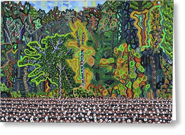 """cotton Field"" Greeting Cards - Cotton Field Off Highway 64 - 3 Greeting Card by Micah Mullen"