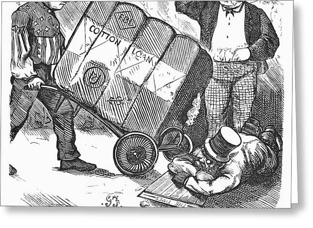 COTTON LOAN CARTOON, 1865 Greeting Card by Granger