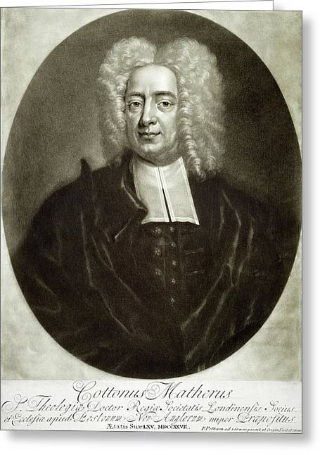 Mezzotint Greeting Cards - Cotton Mather 1663-1728 Greeting Card by Granger