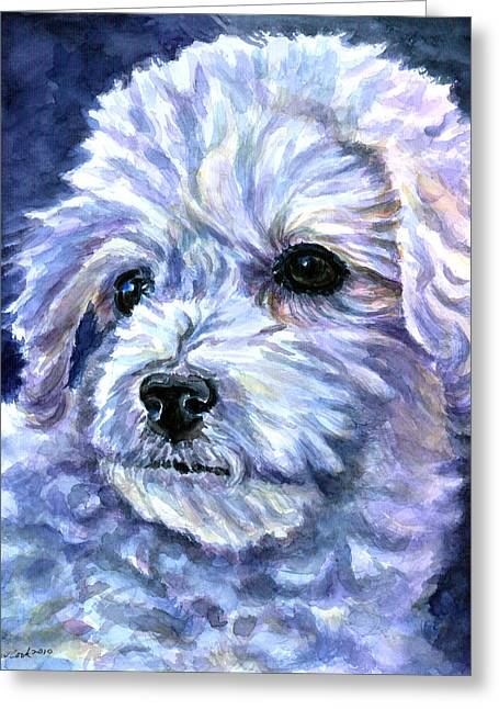 Puppies Paintings Greeting Cards - Cotton Top Greeting Card by Lyn Cook
