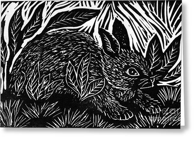 Linoleum Print Mixed Media Greeting Cards - Cottontail block print Greeting Card by Ellen Miffitt
