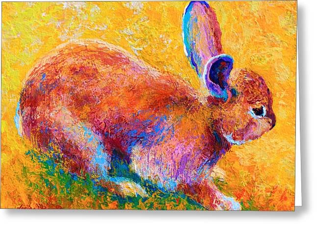 Bunnies Greeting Cards - Cottontail II Greeting Card by Marion Rose