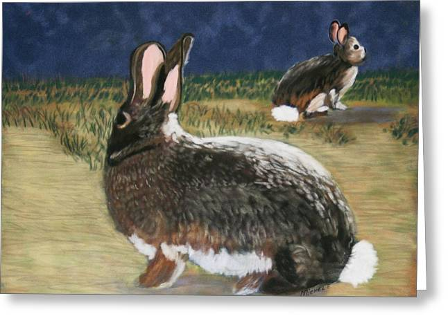 Rabbit Pastels Greeting Cards - Cottontails Greeting Card by Michele Turney