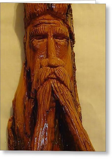 Spirit Sculptures Greeting Cards - Cottonwood Bark  Wood Spirit Greeting Card by Russell Ellingsworth