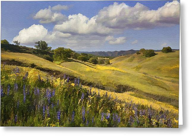 Field. Cloud Digital Art Greeting Cards - Cottonwood Canyon Greeting Card by Sharon Foster