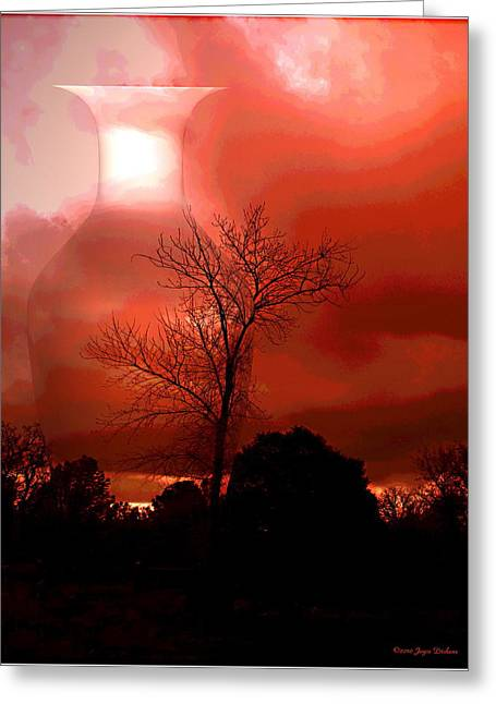 Artography Greeting Cards - Cottonwood Crimson Sunset Greeting Card by Joyce Dickens