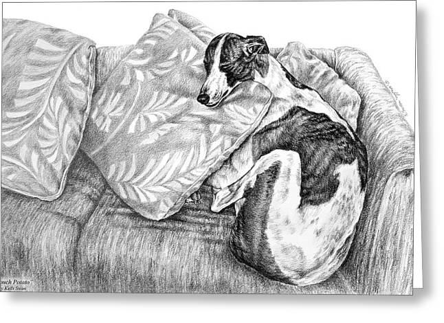 Greyhound Dog Greeting Cards - Couch Potato Greyhound Dog Print Greeting Card by Kelli Swan