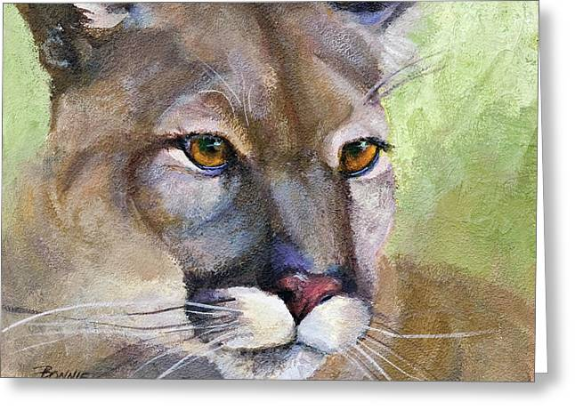 Cougar Greeting Cards - Cougar 2 Greeting Card by Bonnie Rinier