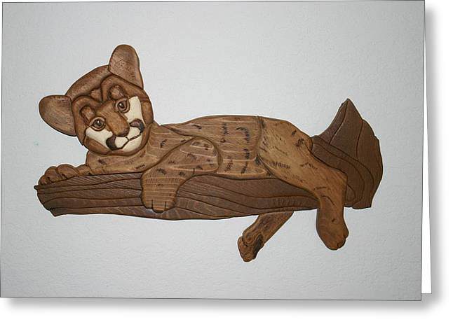 Intarsia Sculptures Greeting Cards - Cougar kitty Greeting Card by Bill Fugerer