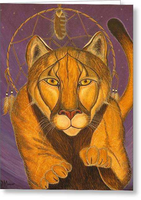 Portrait With Mountain Greeting Cards - COUGAR MEDICINE with Violet Background Greeting Card by Aimee Mouw