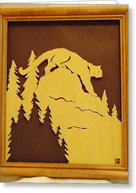 Lions Sculptures Greeting Cards - Cougar on Prowl Greeting Card by Russell Ellingsworth