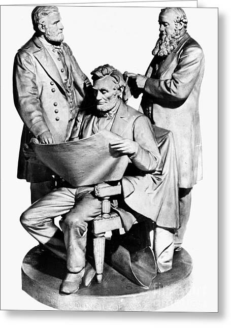 Statue Portrait Greeting Cards - Council Of War Greeting Card by Granger