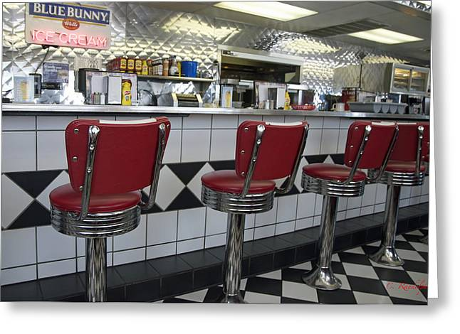 Old Diner Bar Stools Greeting Cards - Counter Service Greeting Card by Cheri Randolph