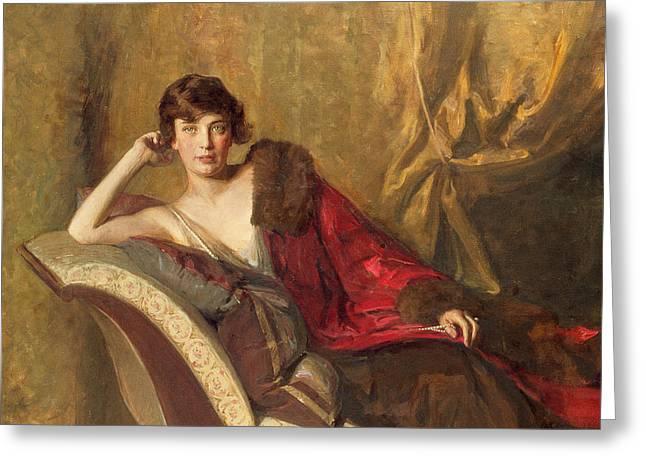 Lounge Greeting Cards - Countess Michael Karolyi reclining on a divan Greeting Card by John Quincy Adams