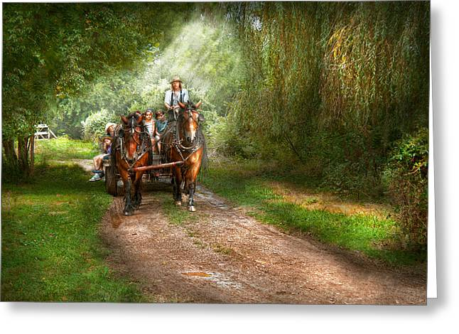 Custom Horse Portrait Greeting Cards - Country - Horse - The hay ride  Greeting Card by Mike Savad