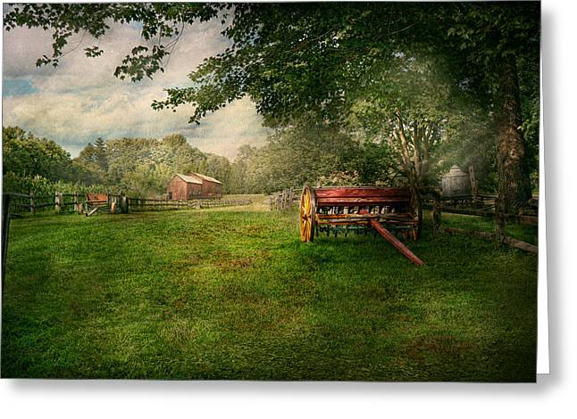 Corn Wagon Greeting Cards - Country - The crops almost ready  Greeting Card by Mike Savad