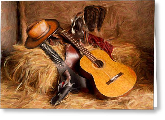 Haybales Digital Art Greeting Cards - Country and Western painting Greeting Card by Peter G Dobson