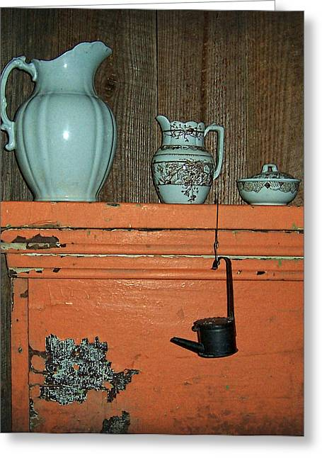 Pottery Pitcher Greeting Cards - Country At Its Best Greeting Card by Kathy Clark