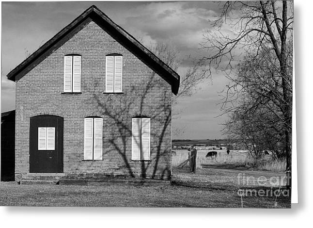 Colorado Greeting Cards - Country Brick House White Shutters BW Greeting Card by James BO  Insogna