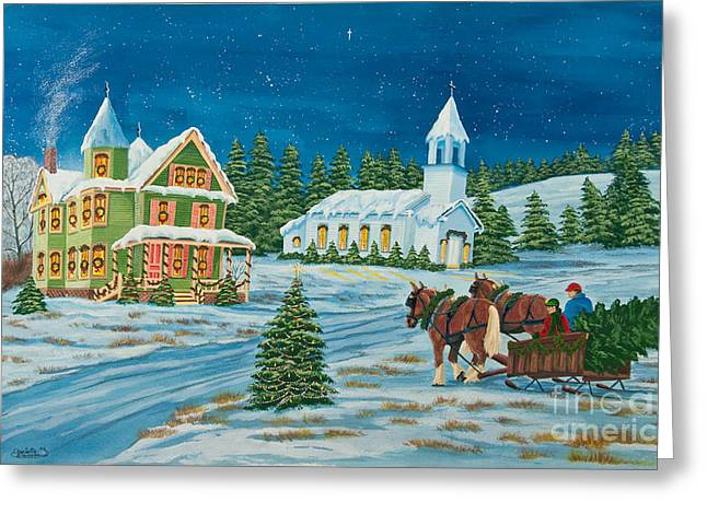 Snow Scene Landscape Greeting Cards - Country Christmas Greeting Card by Charlotte Blanchard