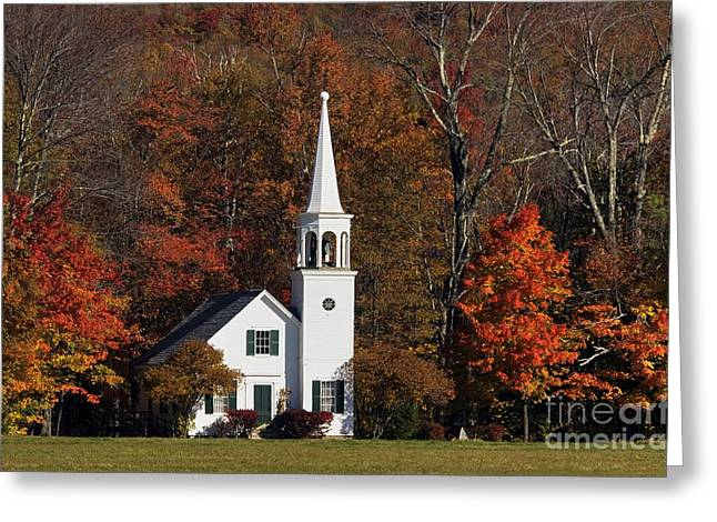 Maple Tree. New England Greeting Cards - Country Church - D001218 Greeting Card by Daniel Dempster