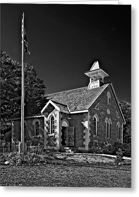 Grey Roots Museum Greeting Cards - Country Church monochrome Greeting Card by Steve Harrington