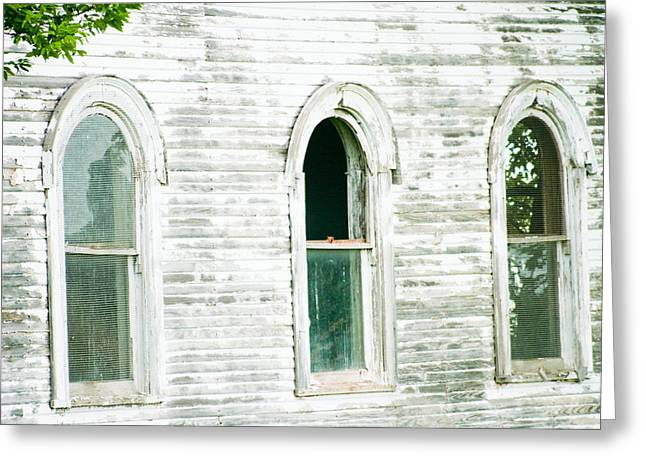 Rural Southern Oklahoma Greeting Cards - Country Church windows Greeting Card by Toni Hopper