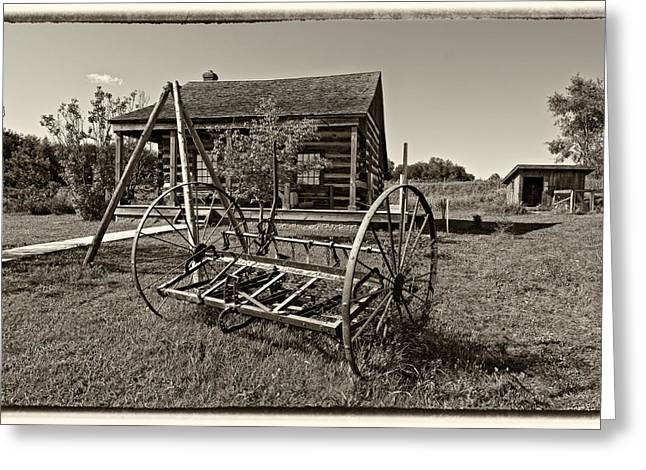 Grey Roots Museum Greeting Cards - Country Classic monochrome Greeting Card by Steve Harrington