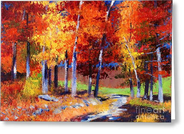 Best Choice Paintings Greeting Cards - Country Club Fall plein air Greeting Card by David Lloyd Glover