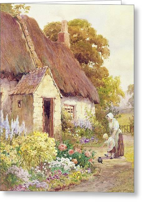 Flower Bed Greeting Cards - Country Cottage Greeting Card by Joshua Fisher