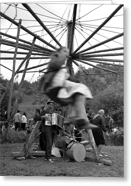 Gypsy Band Greeting Cards - Country fair swings with accordion Greeting Card by Emanuel Tanjala