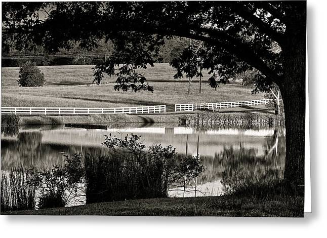 Canvas Framing Greeting Cards - Country Farm and Pond in Black and White Greeting Card by Lori Coleman