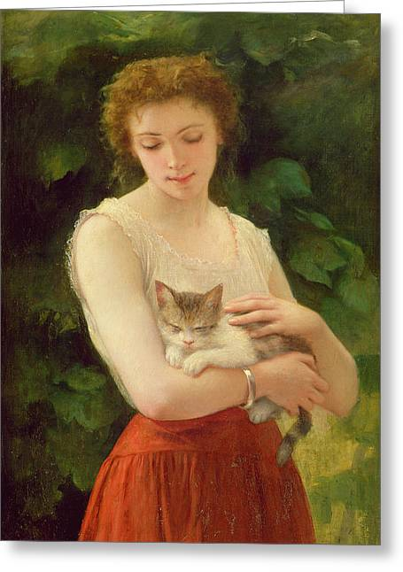 Jeunes Filles Greeting Cards - Country Girl and her Kitten Greeting Card by Charles Landelle