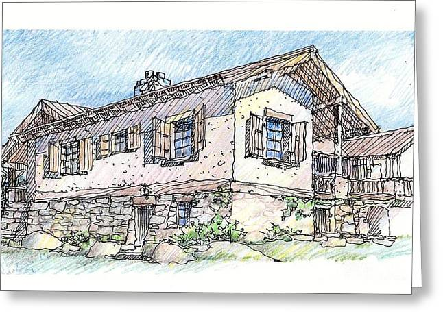 Stone House Drawings Greeting Cards - Country Home Greeting Card by Andrew Drozdowicz