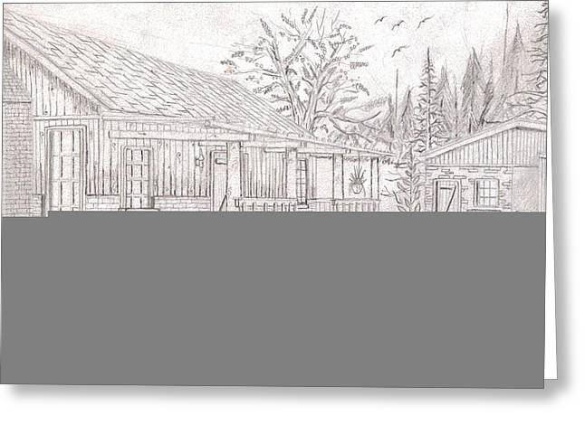 Vacation Home Drawings Greeting Cards - Country Home Greeting Card by Jason Smith