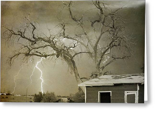 Images Lightning Greeting Cards - Country Horses Lightning Storm NE Boulder CO 66V BW ART Greeting Card by James BO  Insogna