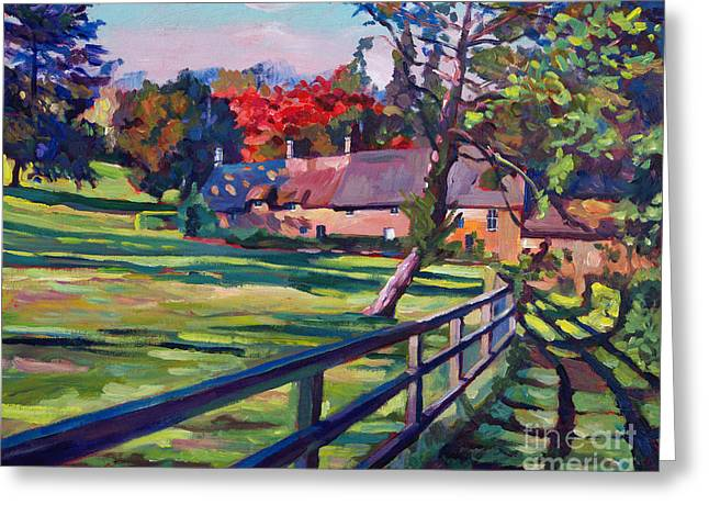 Fence Greeting Cards - Country House Greeting Card by David Lloyd Glover