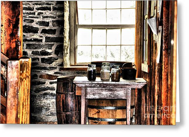 Stonewall Mixed Media Greeting Cards - Country Jars Greeting Card by Elaine Manley