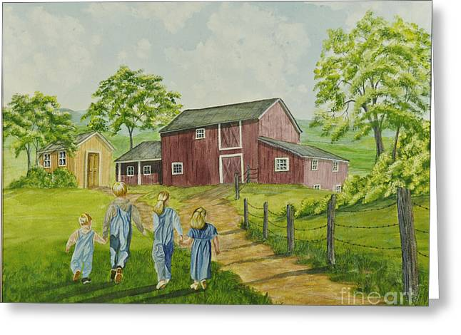 Country Shed Greeting Cards - Country Kids Greeting Card by Charlotte Blanchard