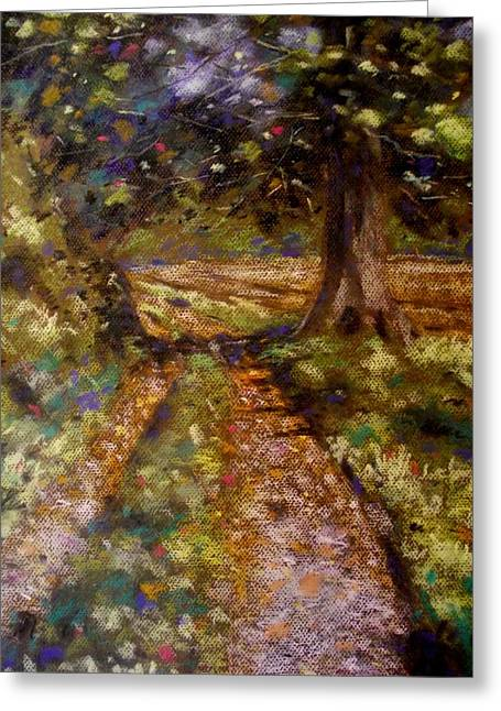 Textured Pastels Greeting Cards - Country Lane Greeting Card by John  Nolan