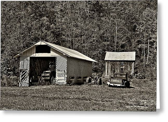 Country Life Sepia Greeting Card by Steve Harrington